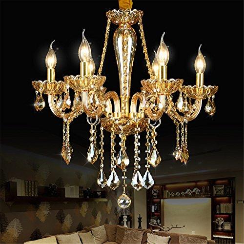 Moderne Lampe Lüster bernstein Kronleuchter aus Kristall Leuchten für Esszimmer Wohnzimmer Hotel Zimmer Gold Körper, 8 Arme -