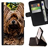 LG G STYLO 2 / G STYLUS 2 Coque Folio en Cuir Synthetique - Yorkshire Terrier Dog Shaggy