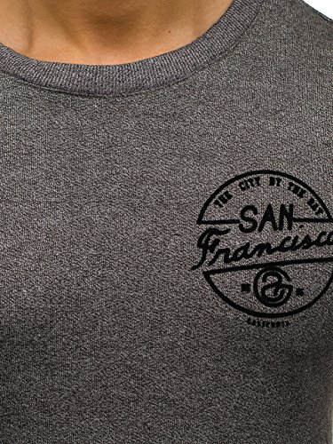 BOLF Herren Pullover Sweatshirt Langarmshirt Sport MIX Grau_9035