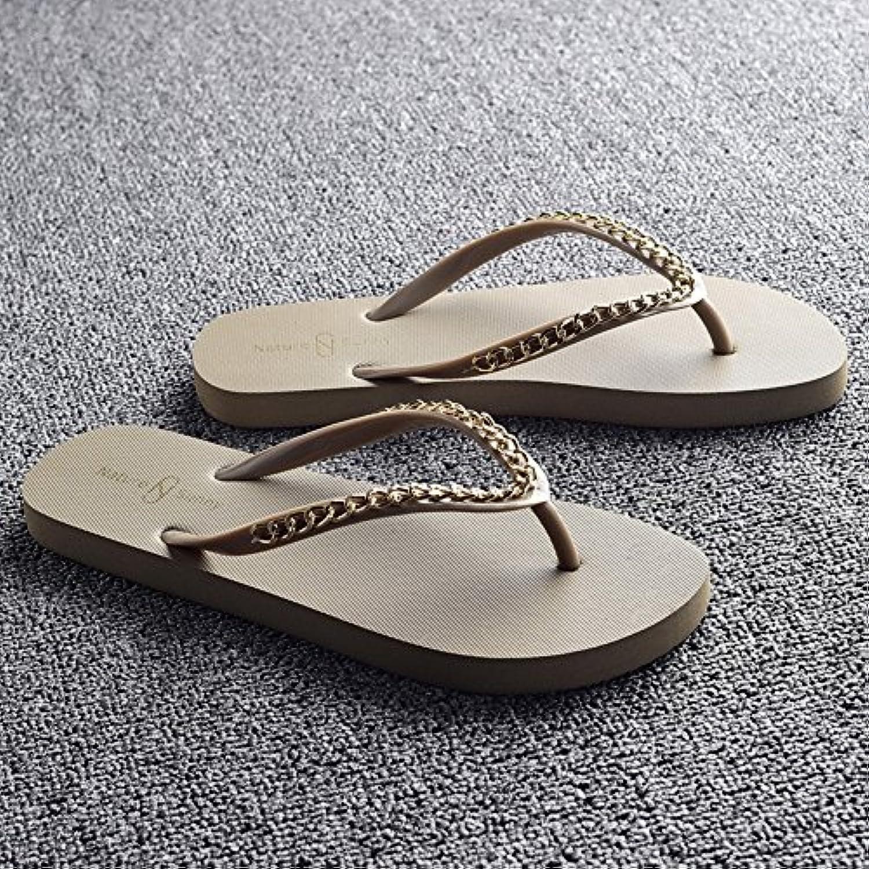 HAIZHEN Frauenschuhe Ladies coole Pantoffeln Sommer-Mode rutschige Pantoffeln Weibliche Strandschuhe Beige Schwarzö