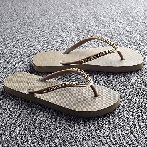 Estate Sandali Pantofole fresche da donna Pantofole scivolose moda estiva Scarpe da spiaggia femminile Beige, Nero, Marrone, Bianco Colore / formato facoltativo Beige
