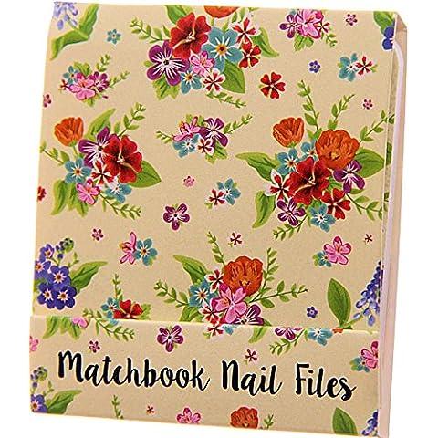 Mini Nail File in zündholzbriefchen Design Fiori Crema, ideale per borsetta o semplicemente come una (Nail Buffer Crema)