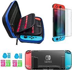 Kit accessori per Nintendo Switch - Custodia Nintendo Switch con 20 cartucce di gioco / cover trasparente per cover / 2 pezzi di protezione per schermo HD per console Nintendo Switch Accessori (JUSONEY))