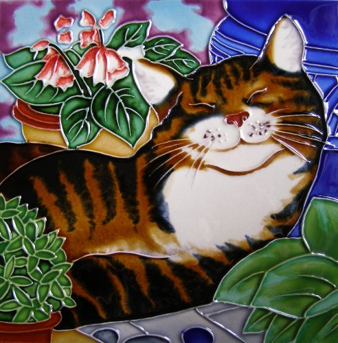 Continental Art Center bd-2171 8 20,3 cm schlafende Katze Keramik Art Tile