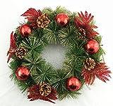 Adventskranz mit Weihnachtsschmuck 28cm Weihnachtskranz Türkranz Rot