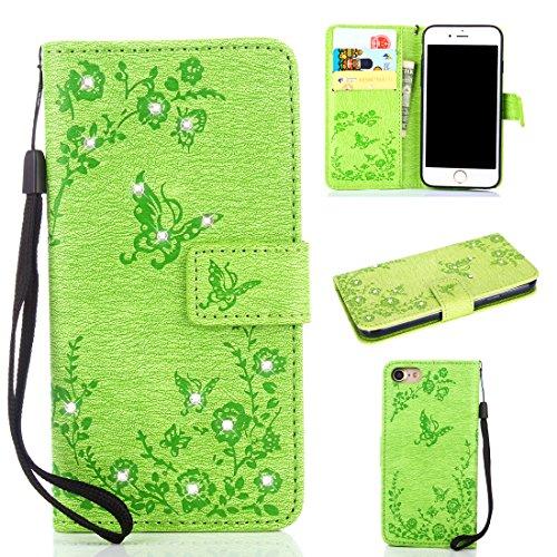 6 Flower Mädchen-top (iPhone 6 Leder Handyhülle,Slim dünn 3D Glitzer Bling PU Leder Aufklappen [Kartenfächer][Magnetverschluss] Brieftasche Etui Schale Tasche Schutz Klapphülle Hülle Case für iPhone 6/6S,Grün)