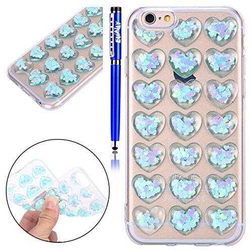 Custodia Cover iPhone 6 Plus/iPhone 6s Plus (5.5), EUWLY Cover Case per iPhone 6 Plus/iPhone 6s Plus (5.5), Fashion TPU Trasparente Morbido Protezione Silicone Custodia Bling Glitter Brillantini Cri Cristallo Blu