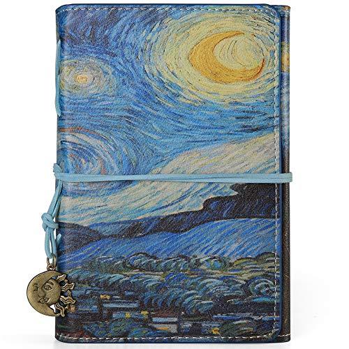 VALERY Taccuino vintage DIN A6 I rilegato - Diario a righe PU pelle I Ricaricabile diario di viaggio I 100 fogli, 200 pagine a righe - Blu (Starry Night)