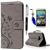 Lanveni Lederhülle Leder Tasche für HTC One (M9) (5 Zoll (12,7 cm) Hülle Gray Muster Geprägte designs Design Case Cover Bookstyle Brieftasche Card Slot Handy Schutzhülle Back Cover + 1 x Stylus Pen + 1 x Staubdichte Stecker + 1 x High-definition Protective Film