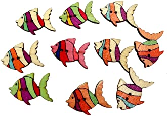 Generic 50pcs Colorful Fish Wooden Buttons Embellishment Scrapbooking Craft DIY