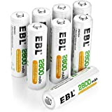 EBL Uppladdningsbara AA-batterier 2 800 mAh, 8-pack högpresterande 1 200 cykel-Ni-MH-batterier