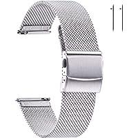 EACHE Bracelets de Montre en Maille d'acier Inoxydable pour Hommes et Femmes, Bracelets de Montre en Maille à dégagement…