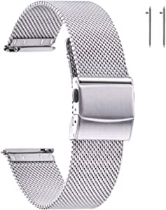 EACHE Bracelets de Montre en Maille d'acier Inoxydable pour Hommes et Femmes, Bracelets de Montre en Maille à dégagement Rapide 14mm 16mm 18mm 20mm 22mm