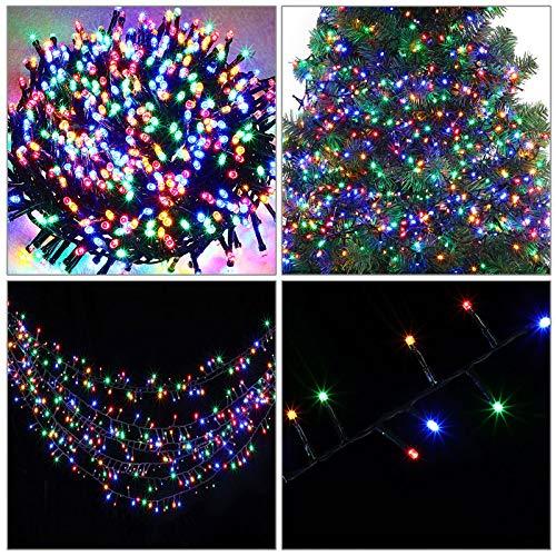 monzana LED Lichterkette Weihnachtslichterkette I 14m I 700 mehrfarbige LEDs I 8 Leuchtmodi I inkl Fernbedienung I Beleuchtung