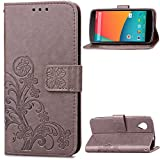 Google Nexus 5 Case,BONROY® Google Nexus 5 Lucky Clover Embossed Leather PU Phone Holster Case, Flip Folio Book Case, Wallet Cover with Stand Function, Card Slots Money Pouch Protective Leather Wallet Case for Google Nexus 5