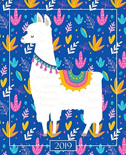 Agenda 2019 Semainier: 19x23cm : Agenda 2019 semainier : lama mignon sur bleu vif avec rose 6071 par Papeterie Bleu