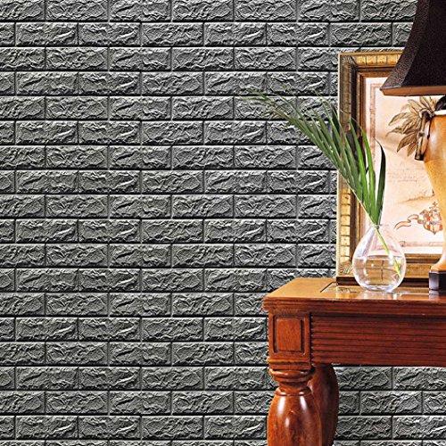 Tapete taottao New PE-Schaumstoff 3D Wand Paneele Stein Optik selbstklebend DIY Wandtattoo Decor geprägt Brick Stone für Wohnzimmer moderne Hintergrund TV-Decor, Schlafzimmer oder Küche grau