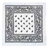 Kandharis Bandana Vierecktuch Kopftuch in Paisley Muster aus Baumwolle 55cmx55cm Weiß