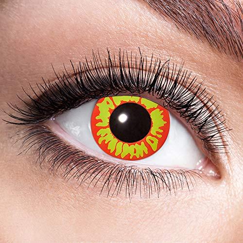 Alsino Farbige Kontaktlinsen Wochenlinsen 1 Paar Bunt Gruselig ohne Stärke für Mottopartys Halloween Fastnacht Karneval Fasching Kostüm Accessoire, (w09) Orc