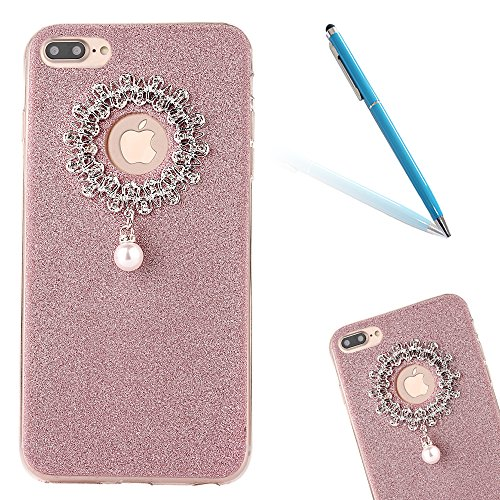 Clear Crystal Rubber Protettivo Case Skin per Apple iPhone 7Plus 5.5(NON iPhone 7 4.7), CLTPY Moda Brillantini Glitter Sparkle Lustro Progettare Protezione Ultra Sottile Leggero Cover per iPhone 7Pl Rose Gold 1