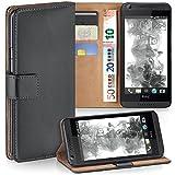 moex HTC Desire 626G | Hülle Dunkel-Grau mit Karten-Fach 360° Book Klapp-Hülle Handytasche Kunst-Leder Handyhülle für HTC Desire 626G/626 Case Flip Cover Schutzhülle Tasche