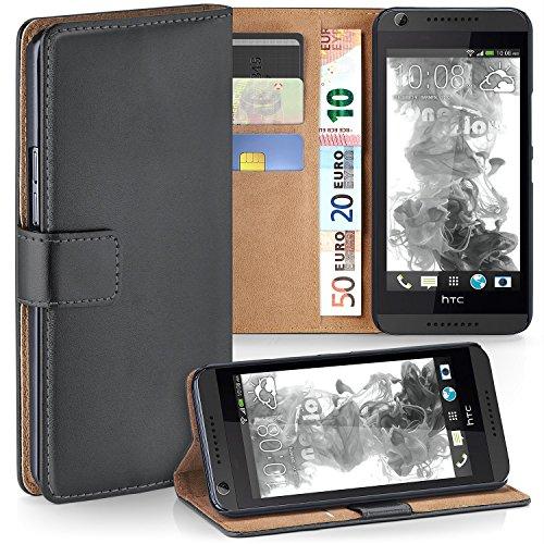 MoEx HTC Desire 626G | Hülle Dunkel-Grau mit Karten-Fach [OneFlow 360° Book Klapp-Hülle] Handytasche Kunst-Leder Handyhülle für HTC Desire 626G/626 Case Flip Cover Schutzhülle Tasche