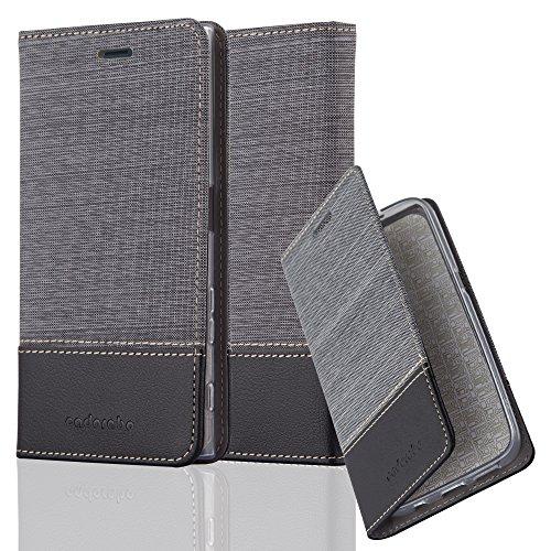 Cadorabo Hülle für Sony Xperia XZ/XZs - Hülle in GRAU SCHWARZ – Handyhülle mit Standfunktion und Kartenfach im Stoff Design - Case Cover Schutzhülle Etui Tasche Book
