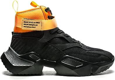 Sneaker da Uomo Summer High Top Traspirante con Piattaforma in Mesh Nero Leggero per Sport all'Aria Aperta da Corsa Scarpe Casual da Uomo