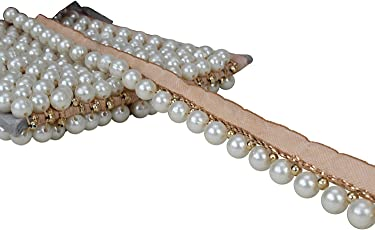 Eerafashionicing 9.5 mtr Stylish Multi Pearl Gold Color Laces for Dresses, Sarees, Lehenga, Suits, Bags, Decorations, Borders, Crafts and Home Décor