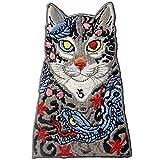 ZEGIN Patch brodé en forme de Chats avec serpent et feuilles de tatouage, à coudre ou à coller avec fer à repasser