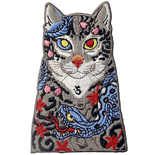 ZEGIN Aufnäher, bestickt, Design: Katzen mit Schlange und -