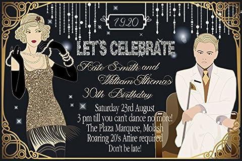 10x Personalisierte Geburtstag Abend Einladungen oder Dankeskarten Karten Great Gatsby Vintage Art (Personalisierte Einladungen)