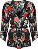 WearAll Damen Floral Kimono Damen-Satin-Druck Blazer Lange Aufflackern-Hülsen öffnen Belted Top - Schwarz - 38