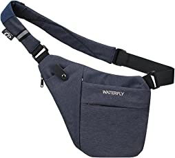 WATERFLY Chest Bag Outdoor Travel Chest Shoulder Crossbody Bag Lightweight Casual Daypack Water Resistant Anti Theft Shoulder Sling Bag