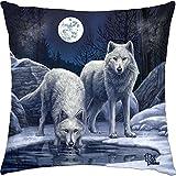 Lisa Parker–Guerreros de invierno cojín–blanco y, diseño de lobos de Invierno de...