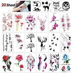 Konsait Tatuajes temporales para adultos Mujer Niños, 20 Hojas Flores tatuaje temporal Adhesivos adolescentes Mujer Flash Tatoos