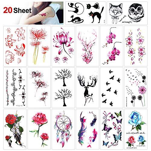 Konsait Blume temporär Tätowierung schwarz Tattoo Körperkunst Kleine Bögen Tattoo Aufkleber Fake Arm Tattoos Sticker für Frauen Mädchen (20 Blätter)