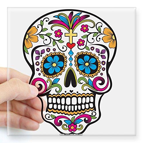 CafePress-Tag der Toten Sugar Skull, Halloween Aufkleber-quadratisch Bumper Aufkleber Auto Aufkleber, 7,6x 7,6cm (klein) oder 12,7x 12,7cm (groß), farblos, Small - 3x3 (Toten Ist Der Tag Halloween-der)