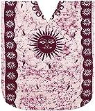 LA LEELA Mujeres Caftán Algodón túnica Batik Kimono Libre tamaño Largo Maxi Vestido de Fiesta para Loungewear Vacaciones Ropa de Dormir Playa Todos los días Cubrir Vestidos Granate_N735