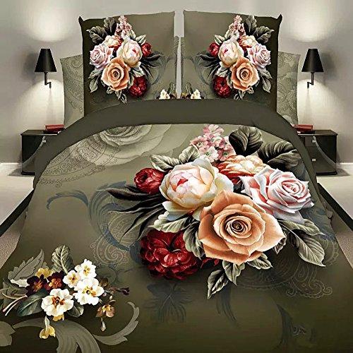 3D Öl Bettbezug, bedruckt Gelb Blumen Bettwäsche Set Doppelbett -