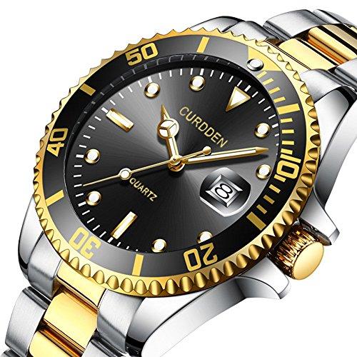 Uhren für Männer Wasserdicht Männer Edelstahl Business Armbanduhr Mann Runde Uhr Militär-Edelstahl-Datums-Sport-Quarz-analoge Armbanduhr (Schwarz)