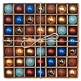 Valery Madelyn Weihnachtskugeln Set 3CM 49 Stücke Blau Braun Glänzend Glitzernd Matt aus Kunststoff Christbaumkugeln mit Aufhänger Der Nordstern Thema Weihnachtsbaumschmuck Weihnachten Dekoration