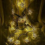 Solar-LED-Star-String-Lichter 12ft 10LED Dekoration Licht für Garten, Hof, Haus, Landschaft Festival Halloween Christmas Party Wedding Tree(Fünf-Punkte-Stern warm-weiß)