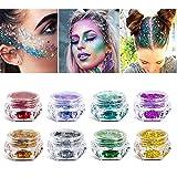 Purpurina cosmética de maquillaje para cuerpo cara pelo y uñas - 8 cajas de pigmentos gruesos de purpurina suelta para festivales y FIESTAS DE NAVIDAD - SÓLO INCLUYE LA PURPURINA