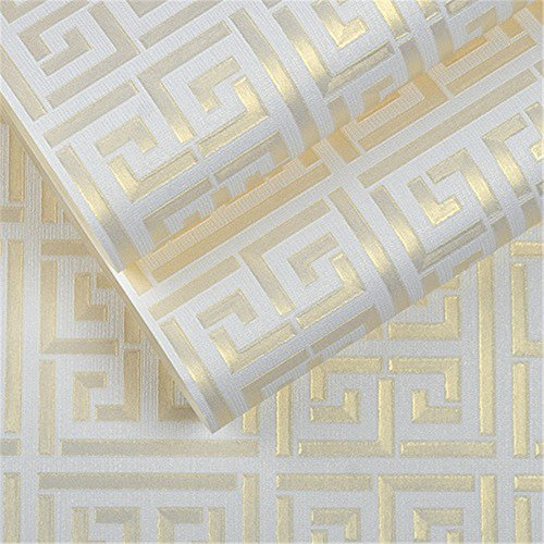 Weihnachten/Halloween/decoration Tapete Zeitgenössische moderne geometrische Tapete Neutrale griechische Schlüsselentwurf Vinyl PVC-Wand-Papier für Schlafzimmer 0.53m x 10m Rollen-Gold auf weißem Tapete, (Halloween Griechische)
