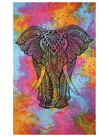 Elefant Multi Color Tie Färbung Baumwolle Handgefertigte Tapisserie Hippie indischen Mandala wirft böhmischen Tapisserien Elefanten Tapisserie Wand hängenden Boho Tapisserie Beach Coverlet Vorhang