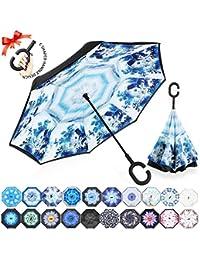 ZOMAKE Inverted Stockschirme, Innovative Schirme Double Layer, Winddicht Regenschirm, Freie Hand,Umgedrehter Regenschirm mit C Griff für Auto Outdoor