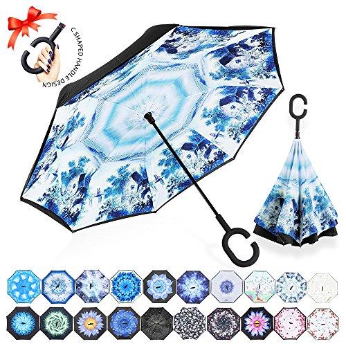 Reversion Regenschirm, Innovative Schirme Double Layer Winddicht Regenschirm Freie Hand Taschenschirm inverted Stockschirme mit C Griff für Reisen und Auto Outdoor di ZOMAKE(Jiangnan)