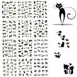 BTArtbox 3D Nail Art Stickers 1 Pack 12 Different Cute Cat Designs Best Nail Art Decals For Ladies