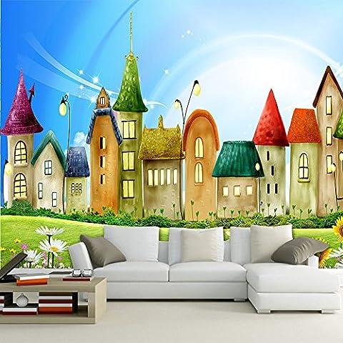 300cmX250cm benutzerdefinierte Wandbild Tapeten Rollen 3D-geprägte Non-woven Cartoon Haus helle Farbe wandbild Kinder Tapeten Home Decor Fernseher Sofa Hintergrund